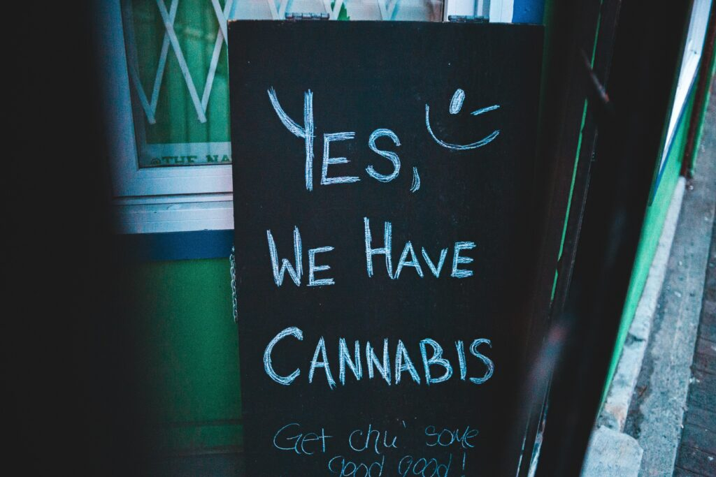 board with cannabis written