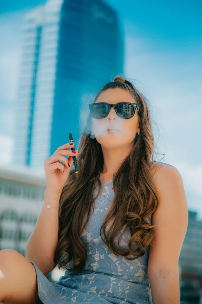 lady smoking with weed for sale
